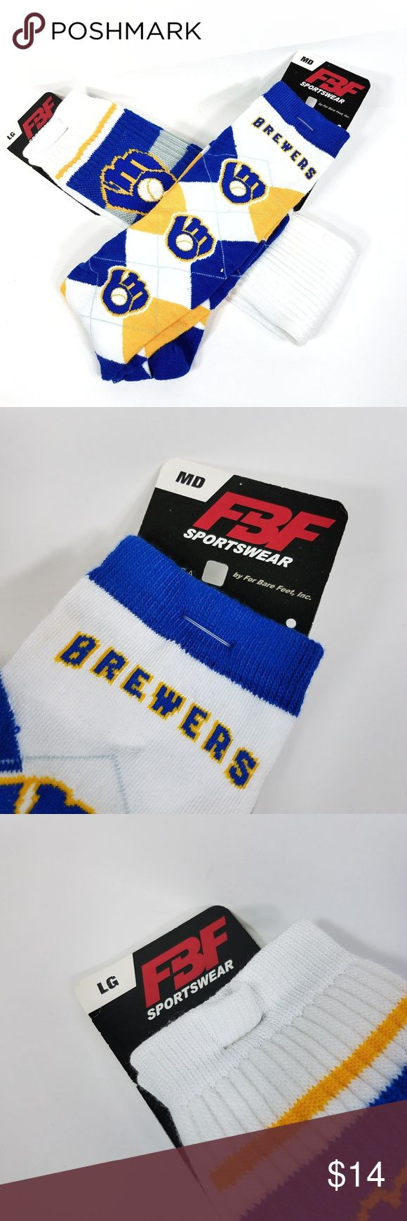 Milwaukee Brewers High Baseball Socks Lot of 2 M L FBF Size Medium and Large Polyester Blend New with tags  These baseball socks are a perfect way to support your local team. They feature the Milwaukee Brewers logo and team colors. Accessories Hosiery & Socks
