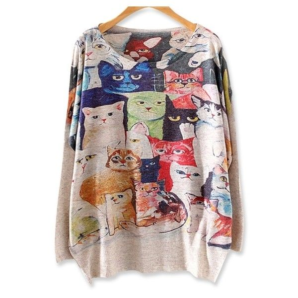 Delightful Cartoon Cat Batwing-sleeves Sweater ($20) ❤ liked on Polyvore featuring tops, sweaters, beige, loose tops, cat sweater, cartoon sweater, comic sweater and brown sweater