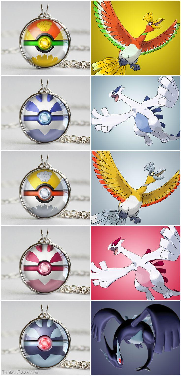 Pkmn Gold and Silver Legendary Bird Pokeball pendants. Shadow LugiaPokemon  ...
