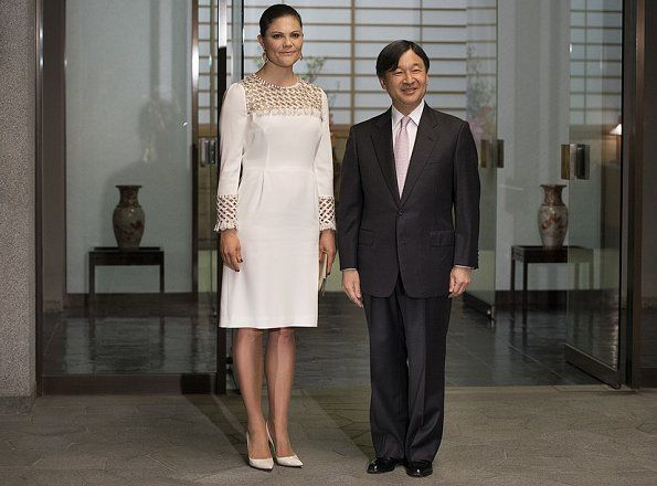 On the last day of Crown Princess Victoria's visit to Japan, the Crown Princess met with Crown Prince Naruhito at Togu Palace on April 21, 2017 in Tokyo.