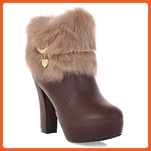 LongFengMa Women's High Heel Platform Round Toe Ankle Boots (7.5 B(M) US, Khaki) - Boots for women (*Amazon Partner-Link)