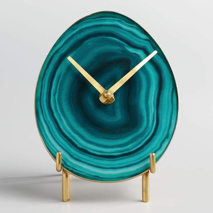 Cost Plus World Market Green Faux Agate Tabletop Clock With Brass Stand Idee Fai Da Te Idee Per Decorare La Casa Fai Da Te