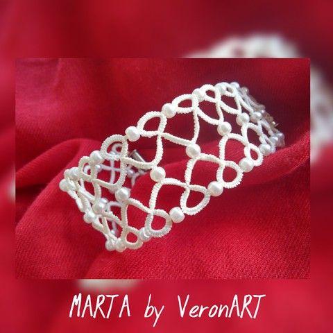 MARTA törtfehér hajócsipke menyasszonyi/alkalmi karkötő tekla gyönggyel, horgolt, Ékszer, óra, Esküvő, Karkötő, Esküvői ékszer, Meska
