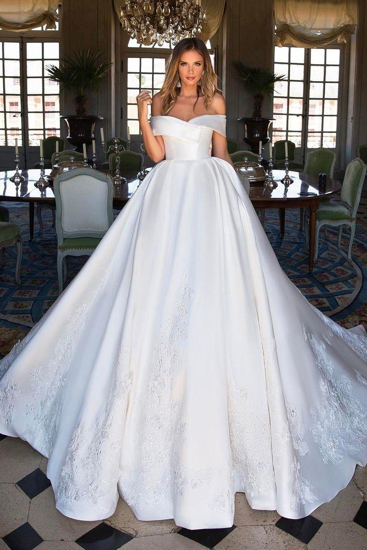 2019 satén una línea del hombro vestidos de novia con apliques barrer el tren …