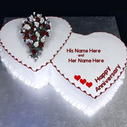 Write your name on cakes. Here you can write names on Birthday Cakes, Anniversary Cakes, Wedding Cakes, Chocolate Cakes and more yummy cakes pictures. You will really enjoy writing your name on Happy Anniversary Cake picture.