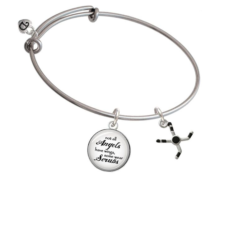 Hockey Sticks with Puck Angels Wear Scrubs Bangle Bracelet ** Click image to review more details. (This is an affiliate link and I receive a commission for the sales)
