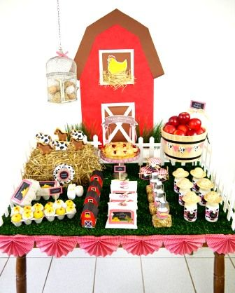 Farm themed birthday party desserts table and DIY decorations