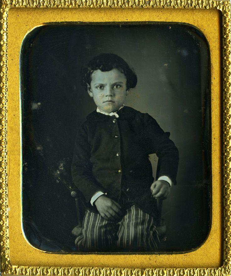Intense Young Boy Wavy Hair Striped Pants 5 Button Black Coat Daguerreotype | eBay