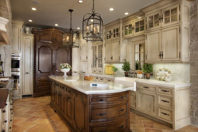 Trendy Kitchen Cabinets Pictures that Booms in 2014: Epic White Countertop Completing Mediterranean Kitchen Design Used Rustic Cream Kitchen Cabinets Pictures Furniture Completed With Rustic Chandelier Lighting Style With Metal Shade ~ HKSTANDARD Kitchen Designs Inspiration