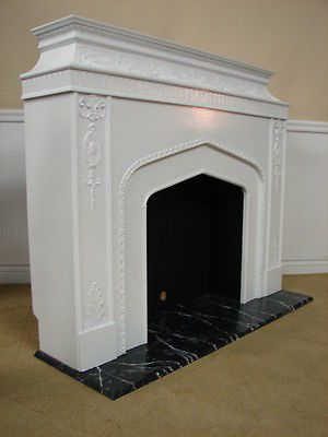 VINTAGE ARTIFICIAL FIREPLACE SURROUND, CARVED PAINTED WOOD MANTEL,