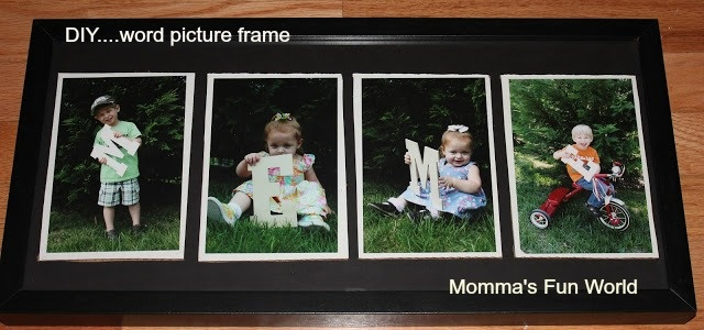 """DIY framed word with kids....""""MEME"""" you can do any word that fits. (Momma's Fun World)"""
