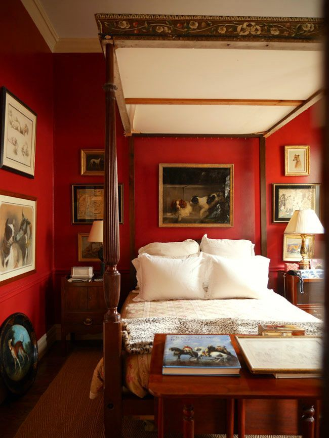 My Room Isn't Blue. Can I still Do Blue and White Chinoiserie? Red BedroomsCountry  ...