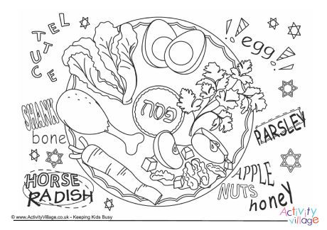 Seder Plate Colouring Page A Traditional Seder Meal Is