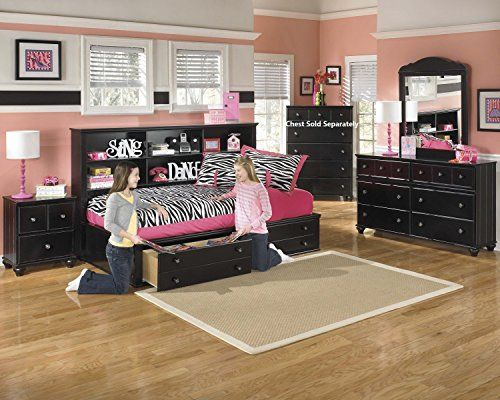 Jaidyn Youth Wood Bookcase Storage Bed Room set in Rich Black Finish Twin Bed Dresser Mirror Nightstand >>> Check out the image by visiting the link.