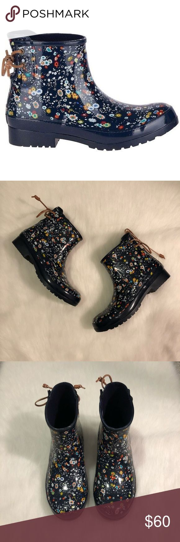 Sperry Walker Turf Floral Rubber Rain Boots Sperry's Walker rubber rain boots are perfect for spring! Adorable floral print with lace up back. Brand new in box and sold out everywhere! Please ask questions before purchase as all sales are final. Sperry Shoes Winter & Rain Boots
