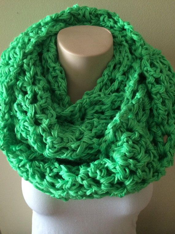 iScarf  Long Crocheted Infinity Scarf  Neon Green by iHooked