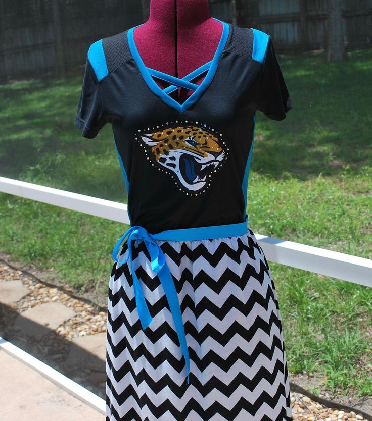 Jacksonville Jaguars Game Day Short Sleeve Dress with ribbon tie Upcycled Shirt Size Small Ready to ship by gamedaychicflorida on Etsy