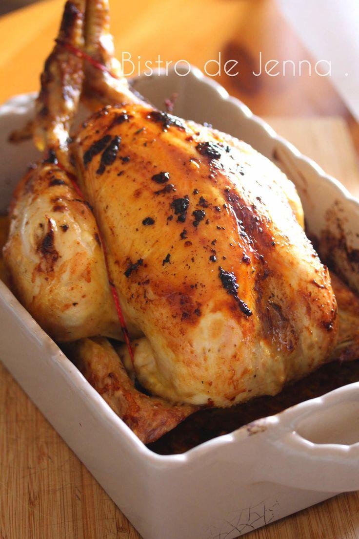 Poulet rôti à la moutarde de Dijon INGREDIENTS: ( pour 4 personnes ) un beau poulet fermier (1kg800) 4 grosses tomates 4 gousses d'ail 8 brins de persil frais 3 c.à.soupe de moutarde de Dijon mi-forte huile d'olive beurre gros sel poivre 1 c.à.soupe de...