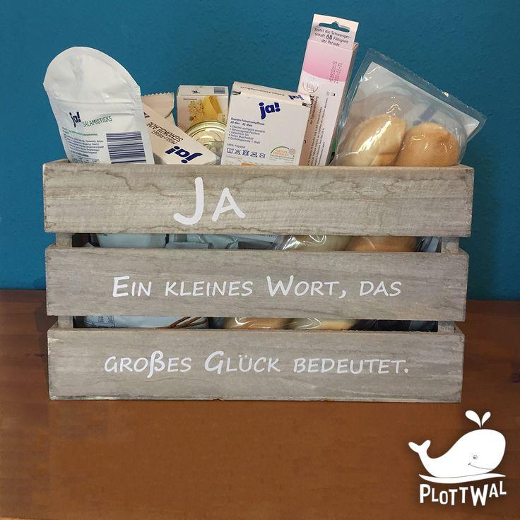 """""""Ja, ein kleines Wort das großes Glück bedeutet"""" JA Kiste als Hochzeitsgeschen…"""