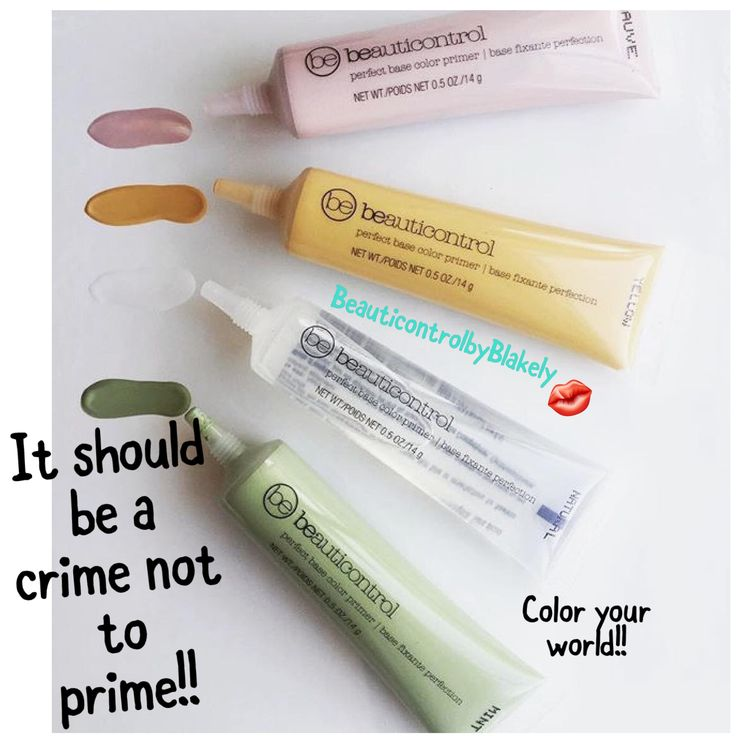 Why yes it should be a crime not to prime!!  Did I mention they are only $10 each in April?!?!  Prime your way to perfect with...                           mint primer- covers redness natural/clear- like spackling for a wall as it gives a smooth coat for makeup to last longer on yellow- helps camouflage dark spots or circles   mauve-adds color to sallow skin  #coloryourworld #colorcorrecting #primer www.beyoubeglam.com