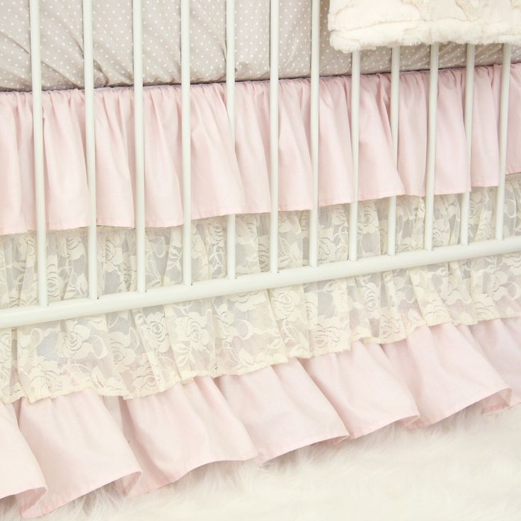 blush pink and ivory lace triple ruffle crib skirt