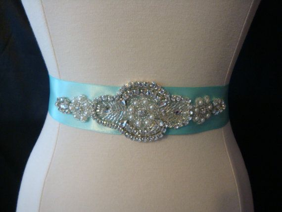 Bridal Sash - Tiffany Blue Wedding Dress Sash Belt - Rhinestone and Pearl Aqua Wedding Sash - Ivory Rhinestone Bridal Sash on Etsy, $35.00