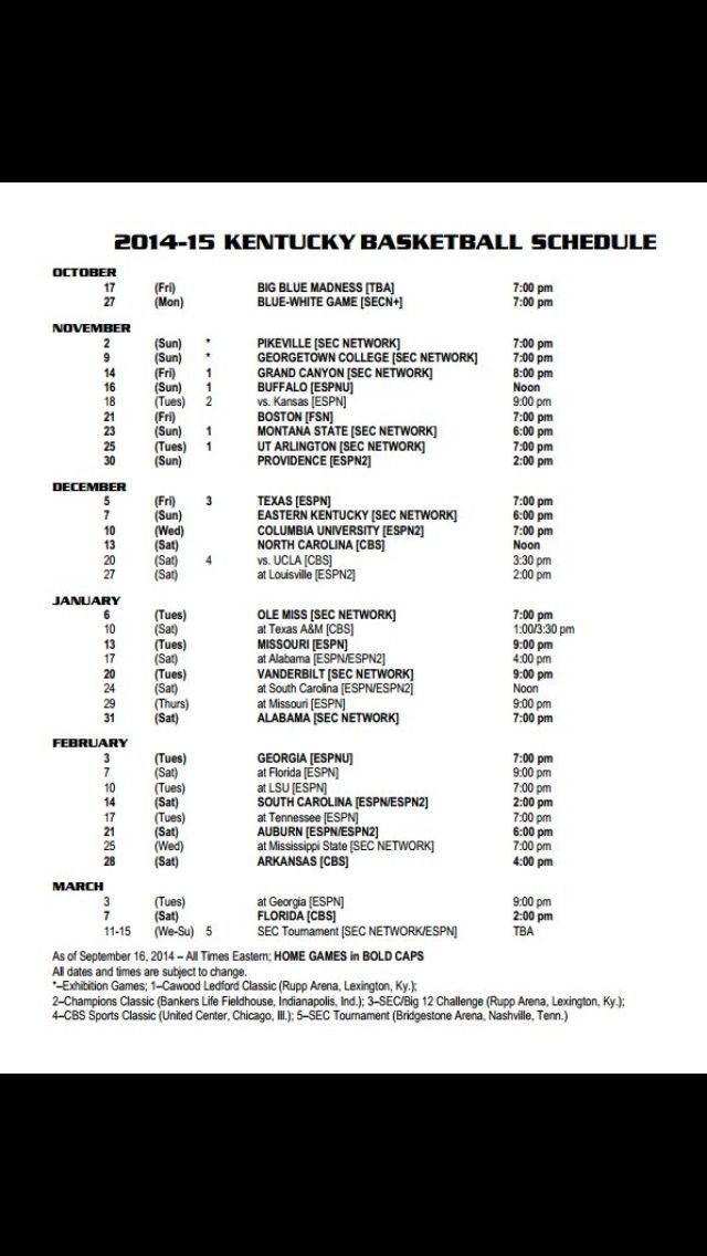 UK Basketball Schedule for 2014-2015