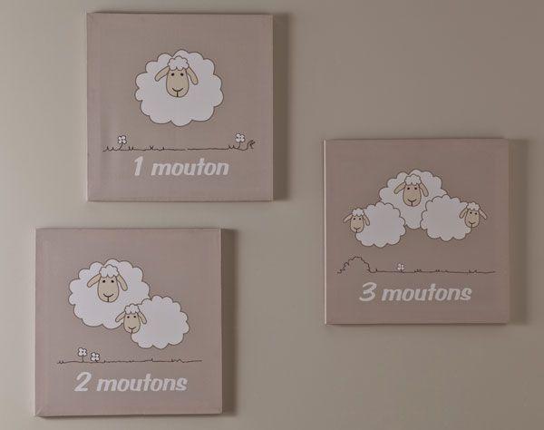 cadres décor mouton - set de 3   becquet