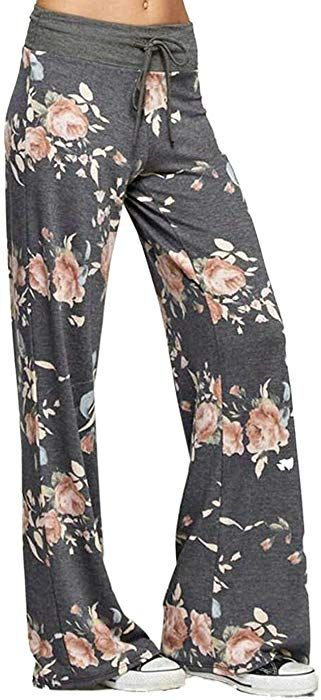 e8c26e6c90 Elsofer Women s Pajama Lounge Pants Floral Print Comfy Casual Stretch  Palazzo Drawstring Pj Bottoms Pants Wide Leg…