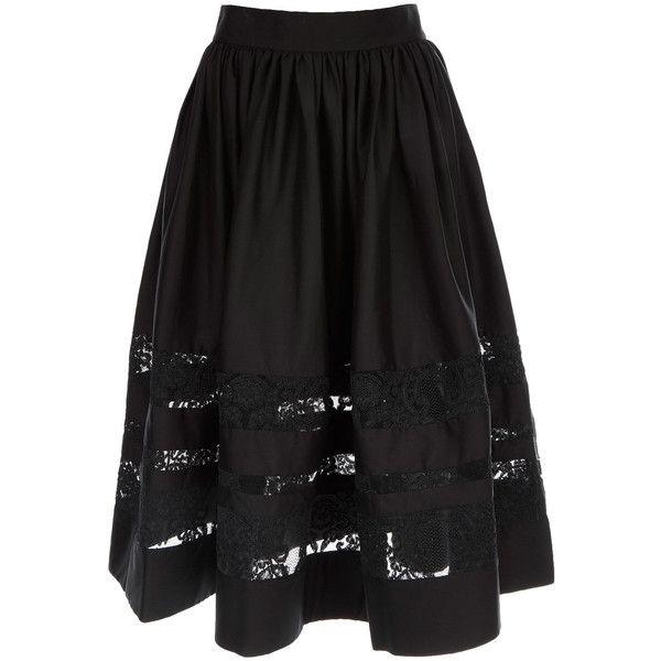 Alice and Olivia Black Lace Detail Tamia Midi Skirt ($650) ❤ liked on Polyvore featuring skirts, flounce skirt, ruffle skirt, black knee length skirt, calf length skirts y black skirt