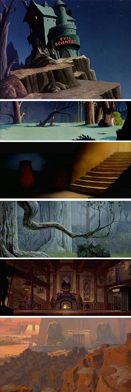 Animation Backgrounds: Hare-Raising Hare, The Sorcerer's Apprentice, Sleeping Beauty, Atlantis, the Lost Empire, The Prince of Egypt