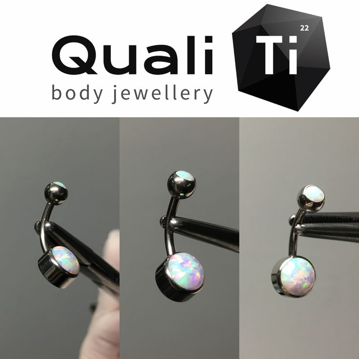 An implant grade titanium internally threaded white cabochon opal navel curve.   Featuring a stunning 8mm synthetic cabochon opal. Laser welded base. Stones held in place using a secure bezel setting.   Measurements: 1.6 x 10mm  Gift packaging included.  Another stunning piece of jewellery from QualiTI body jewellery.