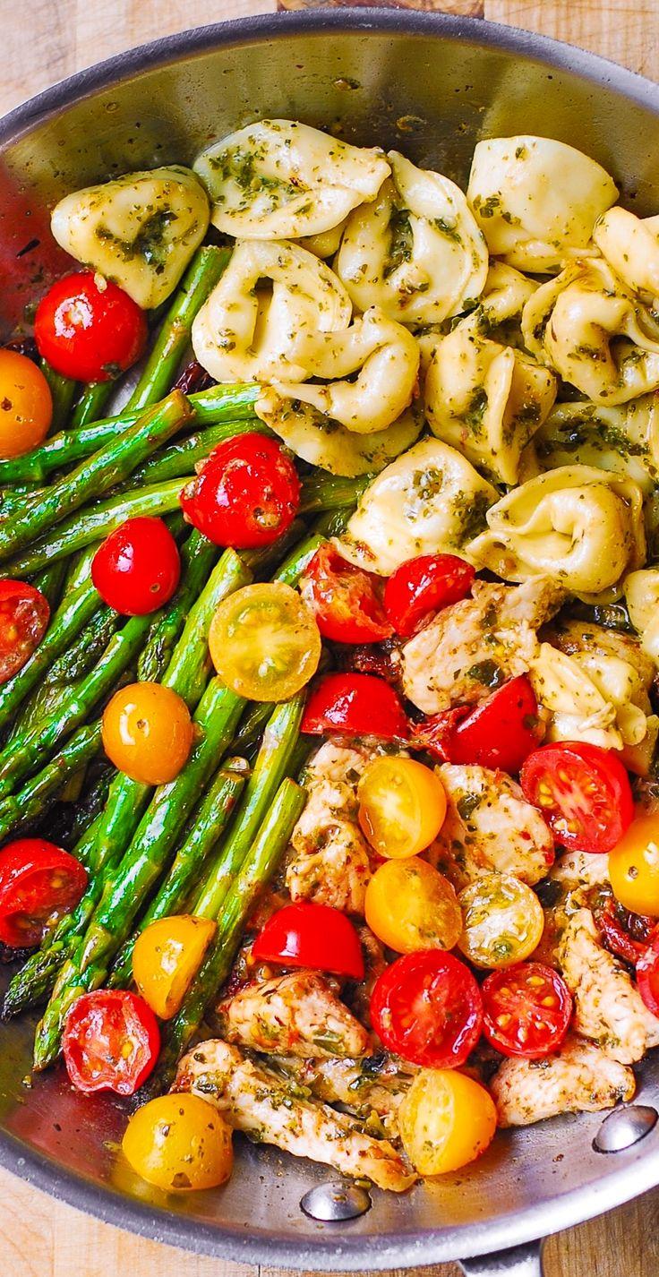 One-Pan Pesto Chicken, Tortellini, and Veggies, Asparagus, Tomatoes, Basil, Sun-Dried Tomatoes.  Healthy, gluten free, Mediterranean recipe.