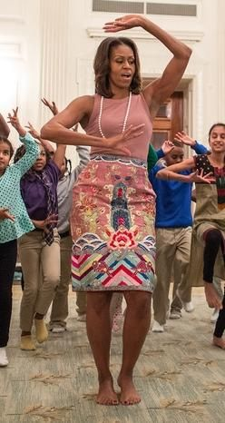 Michelle Obama celebrates Diwali with Bollywood dance moves in Naeem Khan dress
