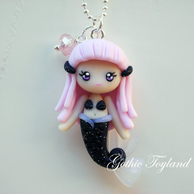 Kawaii Cuties Sweet  Mermaid Pendant Necklace with Polymer Clay. €12,00, via Etsy.