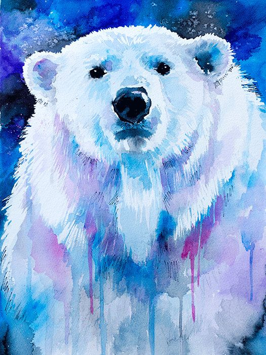 Polar bear watercolor painting print watercolor animal por SlaviART