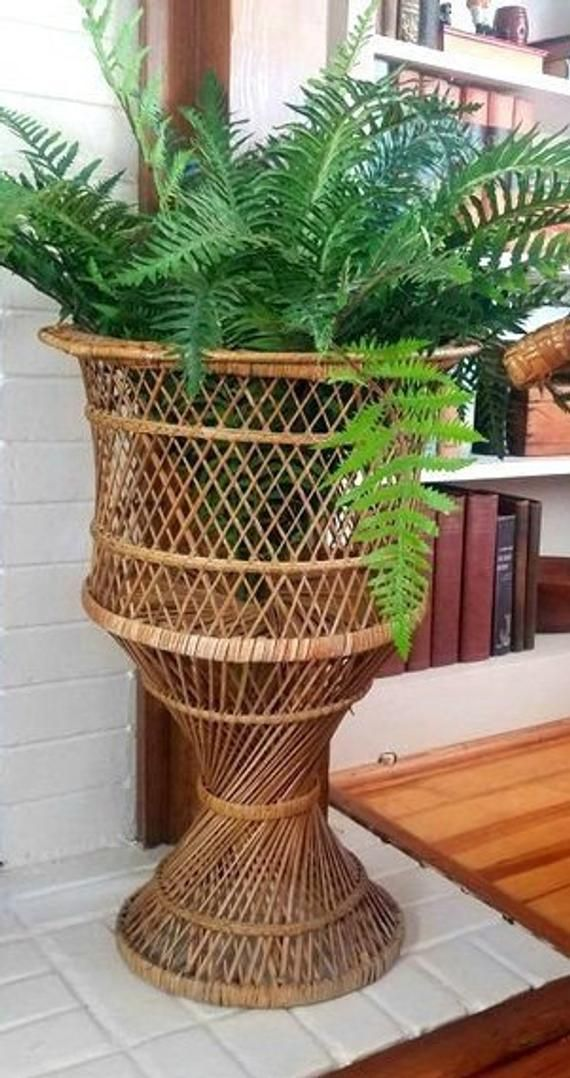 Large Woven Basket Plant Stand Vintage Bamboo Peacock Chair Base Open Weave Extra Large Storage Basket Large Woven Basket Plant Stand Home Decor Baskets
