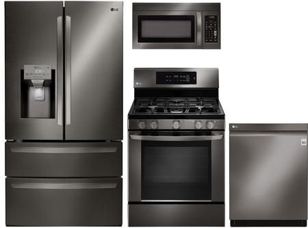 LG 862056 4 piece Black Stainless Steel Kitchen Appliances ...