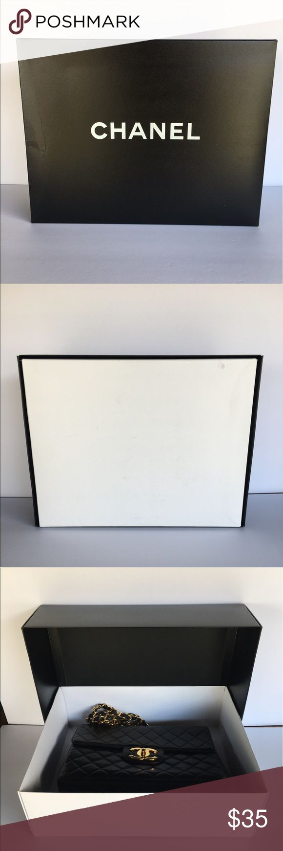 Chanel maxi or large bag empty box 15x12x4.5 Empty chanel gift box for large bag maxi coco handle   Used pre-owned condition may have minor imperfections on box. Damage to the top on the corner.  15.5x12x4 CHANEL Bags