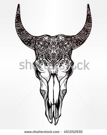 Hand drawn romantic ornate beautiful decorative bull skull. Spiritual ...