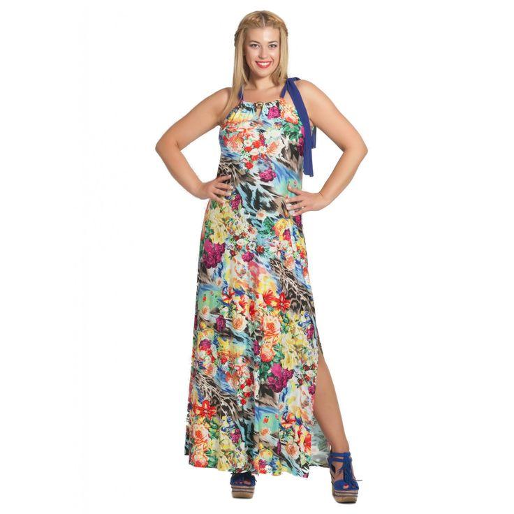 Εμπριμέ φόρεμα μακρύ (0634)
