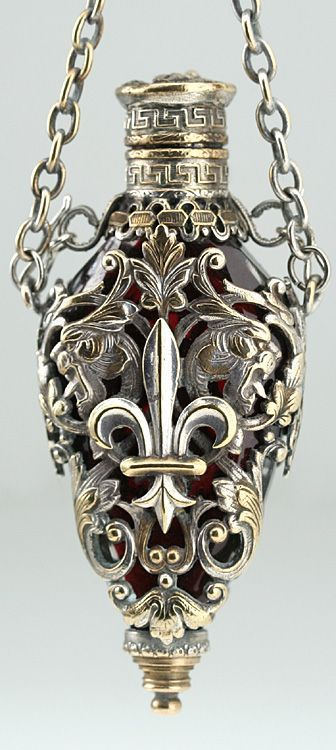 c1890 French caged ruby crystal chatelaine perfume bottle