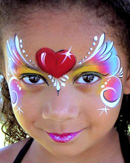 Fast & ez heart & rainbow face paint design.