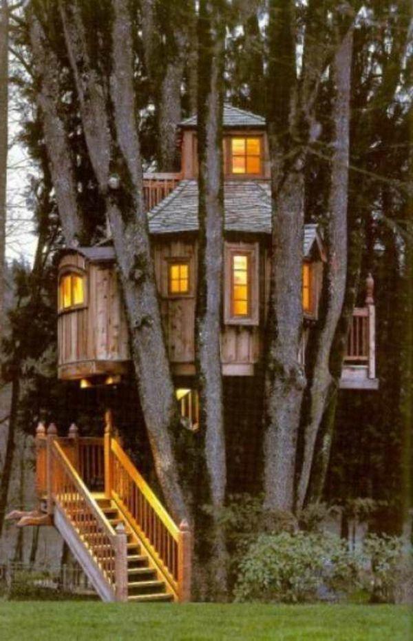 une grande maison dans un arbre
