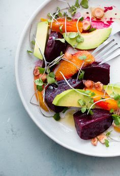Roasted Beet Salad with Orange and Avocado