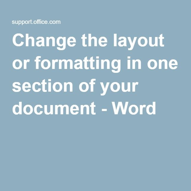 how to change sections in microsoft word