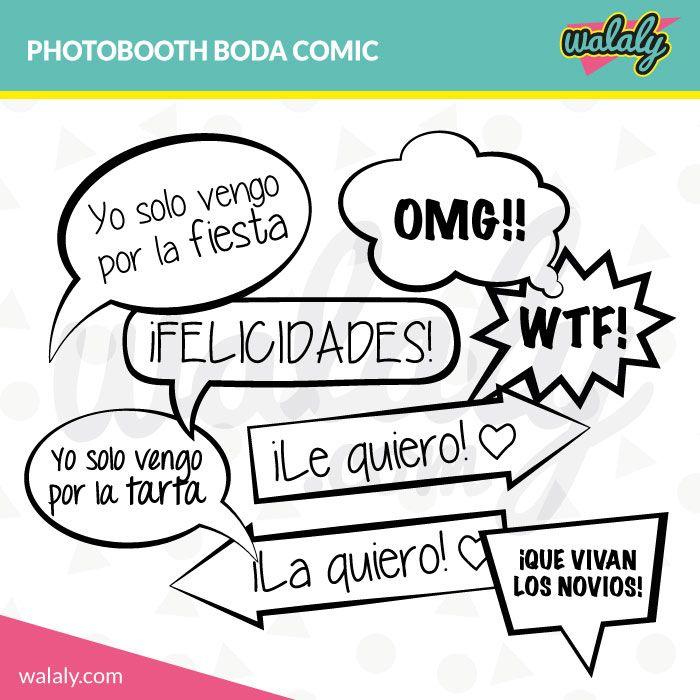 Photobooth: 8 bocadillos de comic para imprimir en casa o en una imprenta ¡Dale un toque original y divertido a tu boda!