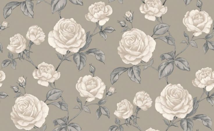 Countess Taupe (50-183) - Graham and Brown Wallpapers - Countess, beautifully depicted design with shimmering highlights, this romantic flourishing rose trail epitomises vintage-glamour. showing in cream and grey on a metallic taupe background - other colour ways available. Please request a sample for true col