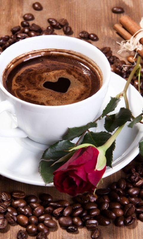 чашка кофе, кофе в зернах, роза