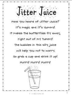 Jitter juice for those nervy first days of school. Pinned from http://4.bp.blogspot.com/-HsEdi7aNrZE/UEft0fhcxnI/AAAAAAAAAJI/tQfJud15mo4/s1600/jitter+juice.jpg